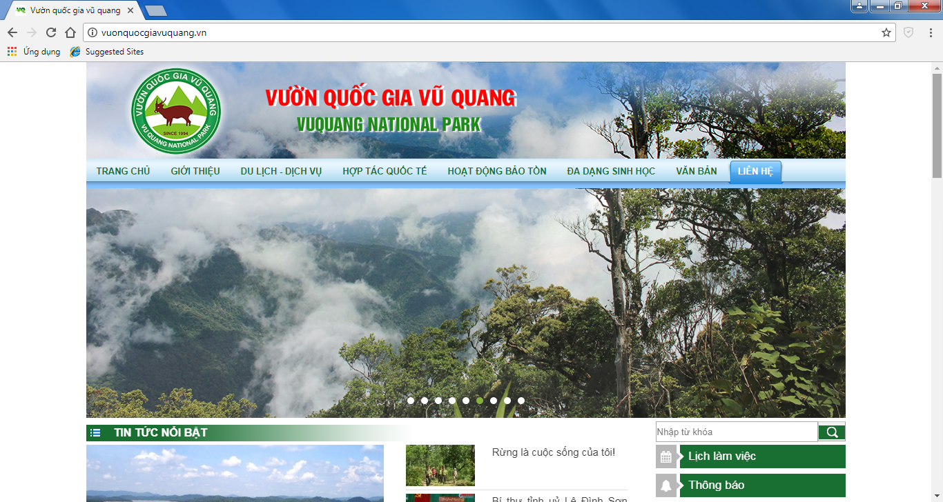 Vườn quốc gia Vũ Quang đưa Cổng thông tin điện tử vào hoạt động!