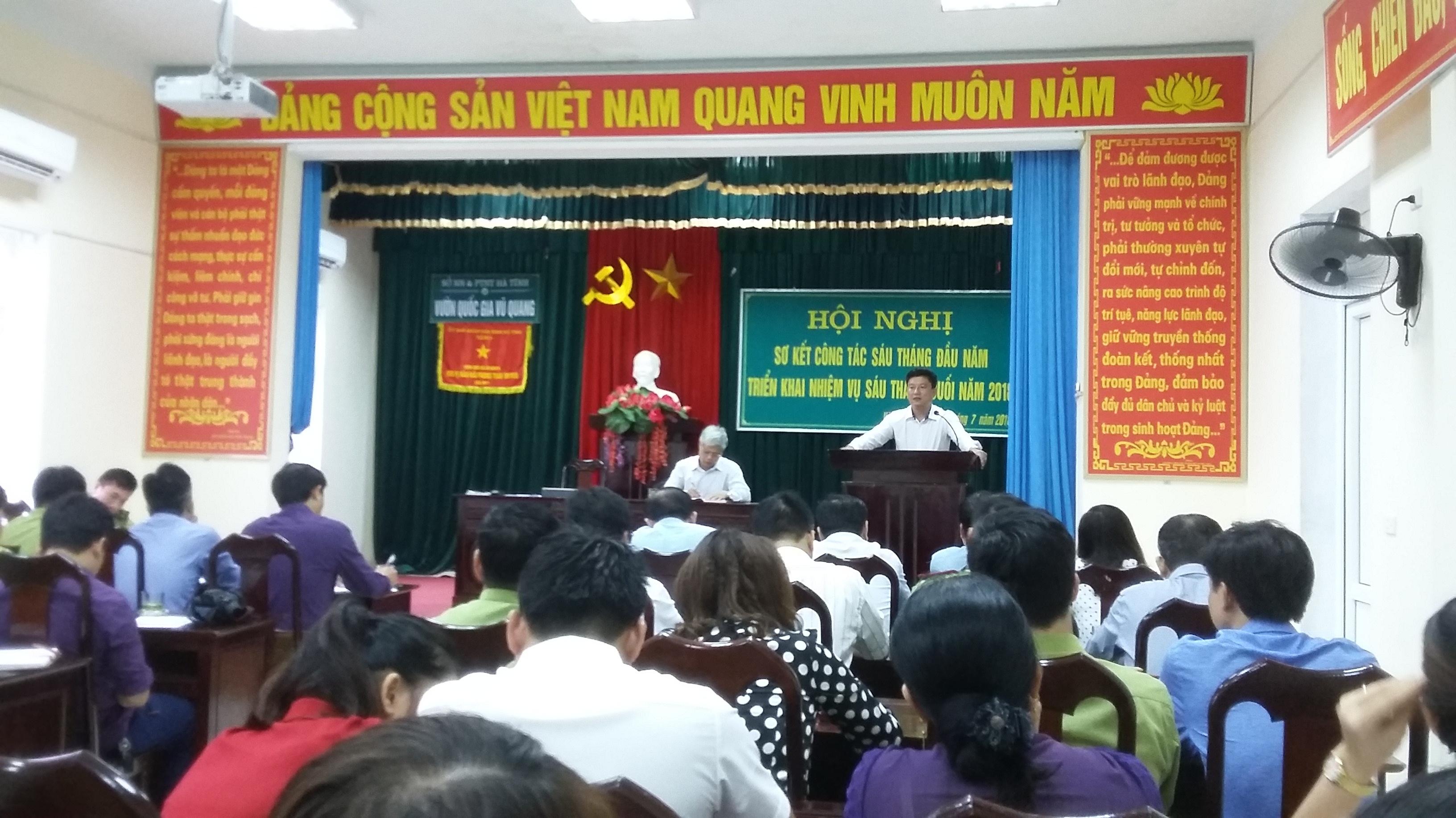 Vườn QG Vũ Quang sơ kết công tác xây dựng Đảng và kết quả thực hiện nhiệm vụ chính trị 6 tháng đầu năm 2018.