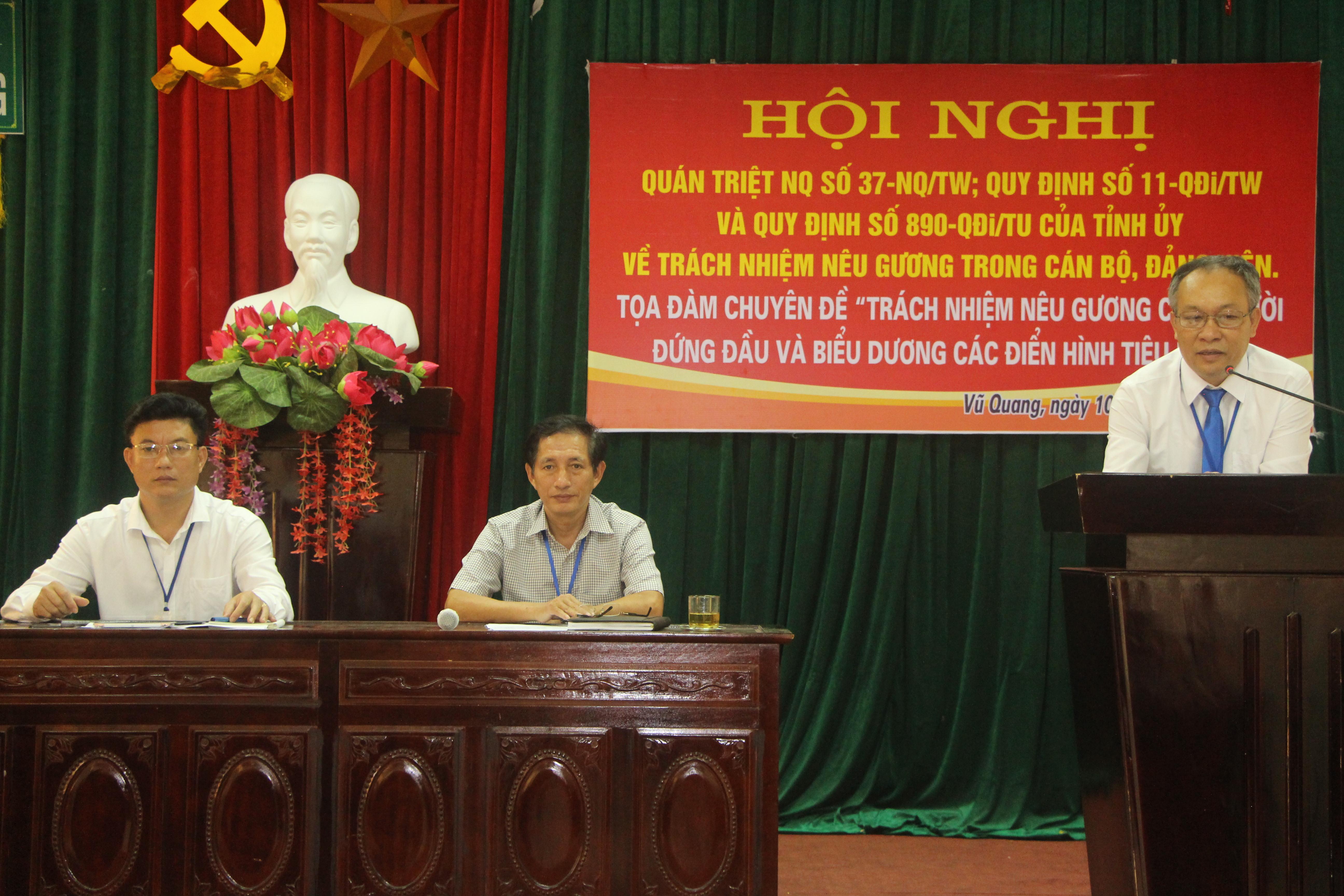 Hội nghị quán triệt nghị quyết số 37-NQ/TW; quy định số 11-QĐi/TW và quy định số 890-QĐi/TU của Tỉnh ủy Hà Tĩnh về trách nhiệm nêu gương của cán bộ Đảng viên.